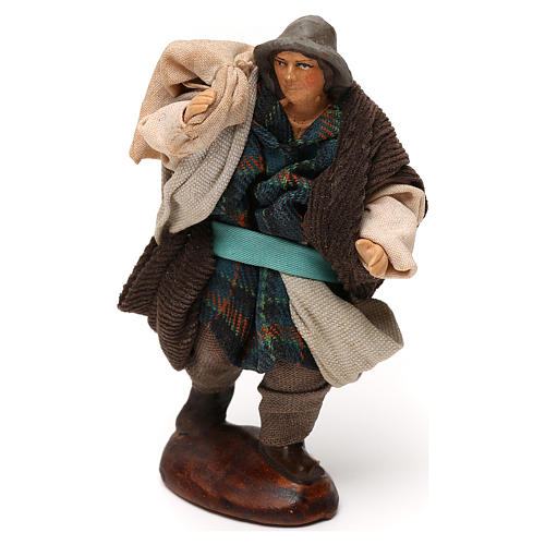 Neapolitan Nativity scene, man with sack 12 cm 2