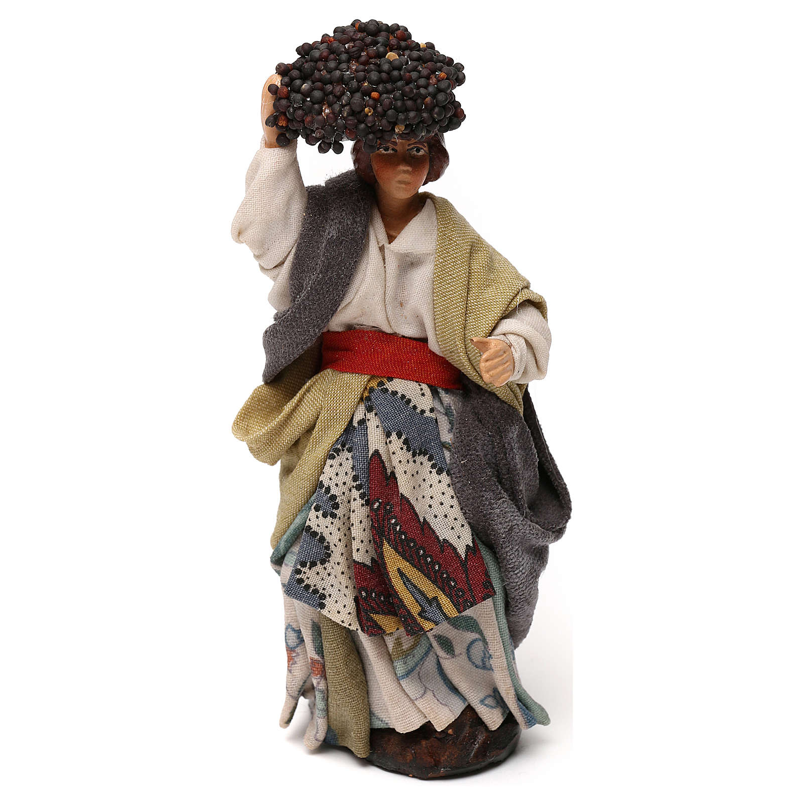 Neapolitan Nativity scene, woman with grapes 12 cm 4