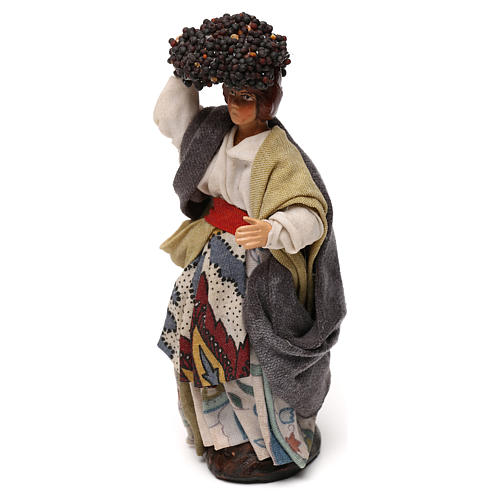 Neapolitan Nativity scene, woman with grapes 12 cm 2