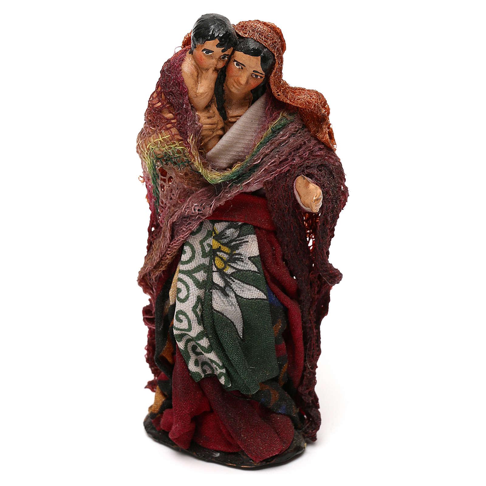 Donna con bambino in braccio presepe napoletano 12 cm 4
