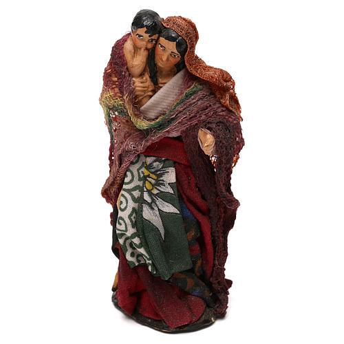 Donna con bambino in braccio presepe napoletano 12 cm 2