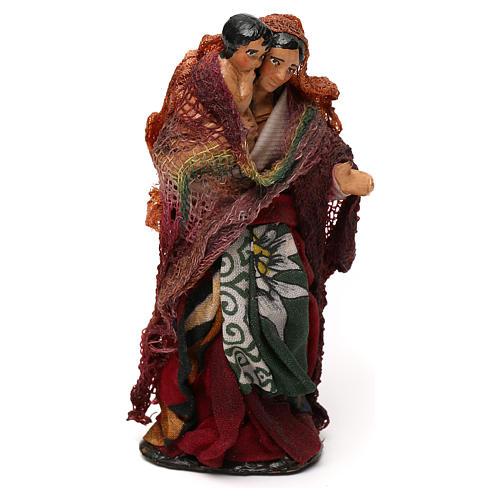 Donna con bambino in braccio presepe napoletano 12 cm 3