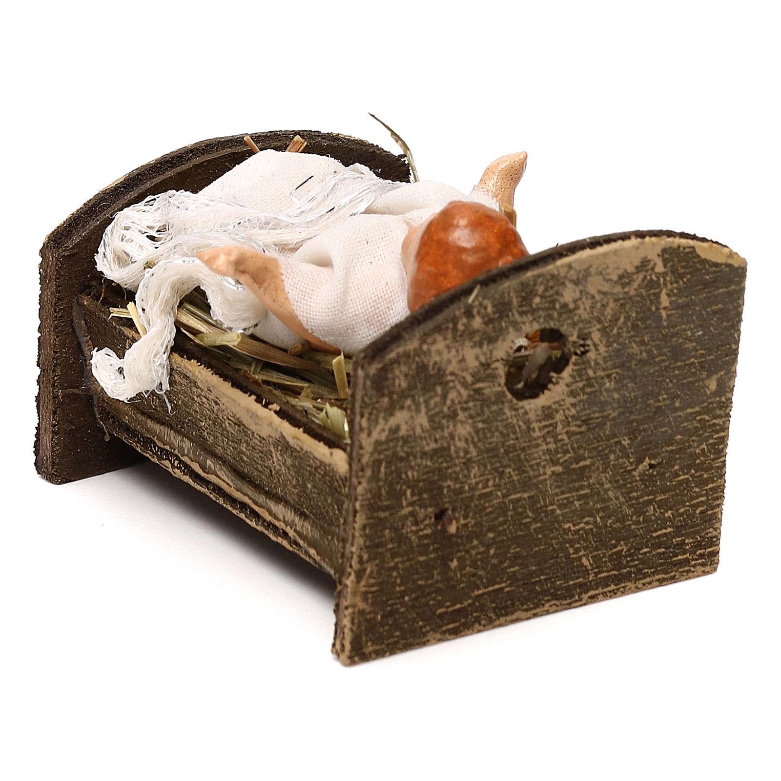 Gesù bambino con culla in legno 12 cm presepe napoletano 4