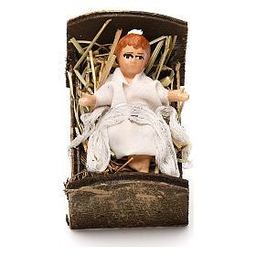 Gesù bambino con culla in legno 12 cm presepe napoletano s1