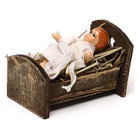 Gesù bambino con culla in legno 12 cm presepe napoletano s2