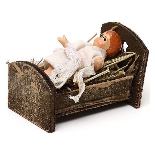 Gesù bambino con culla in legno 12 cm presepe napoletano 2