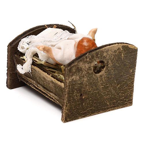 Gesù bambino con culla in legno 12 cm presepe napoletano 3