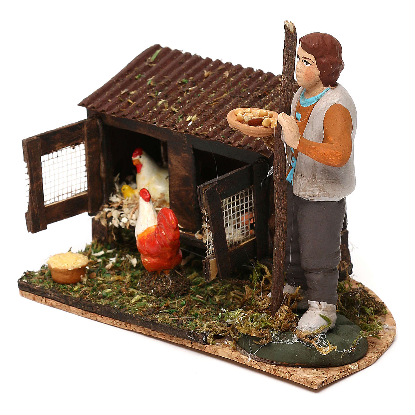 Man in the henhouse with tray full of feed for Neapolitan Nativity Scene 8/10 cm 4