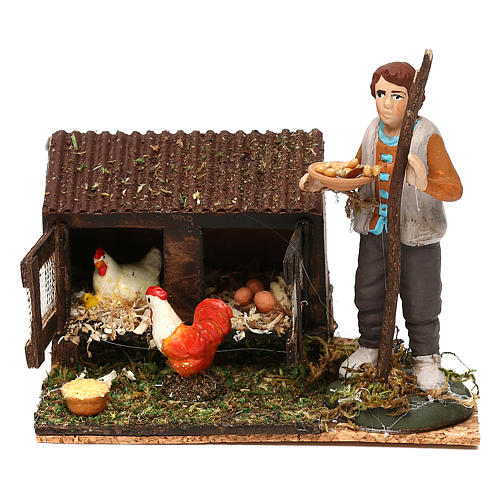 Man in the henhouse with tray full of feed for Neapolitan Nativity Scene 8/10 cm 1