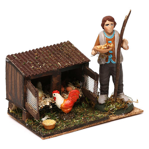 Man in the henhouse with tray full of feed for Neapolitan Nativity Scene 8/10 cm 3