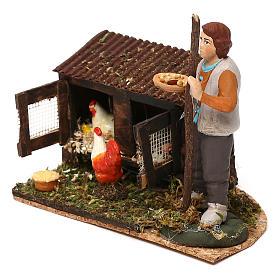 Scena di uomo nel pollaio con mangime presepe napoletano 8/10 cm s2