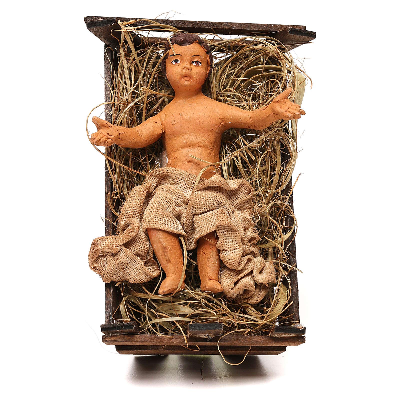STOCK Bambino vestito nella culla terracotta 18 cm presepe Napoli 4