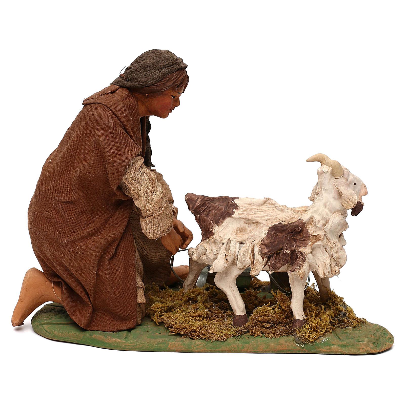 STOCK Donna con capra terracotta vestita 24 cm presepe Napoli 4