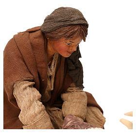 STOCK Donna con capra terracotta vestita 24 cm presepe Napoli s2