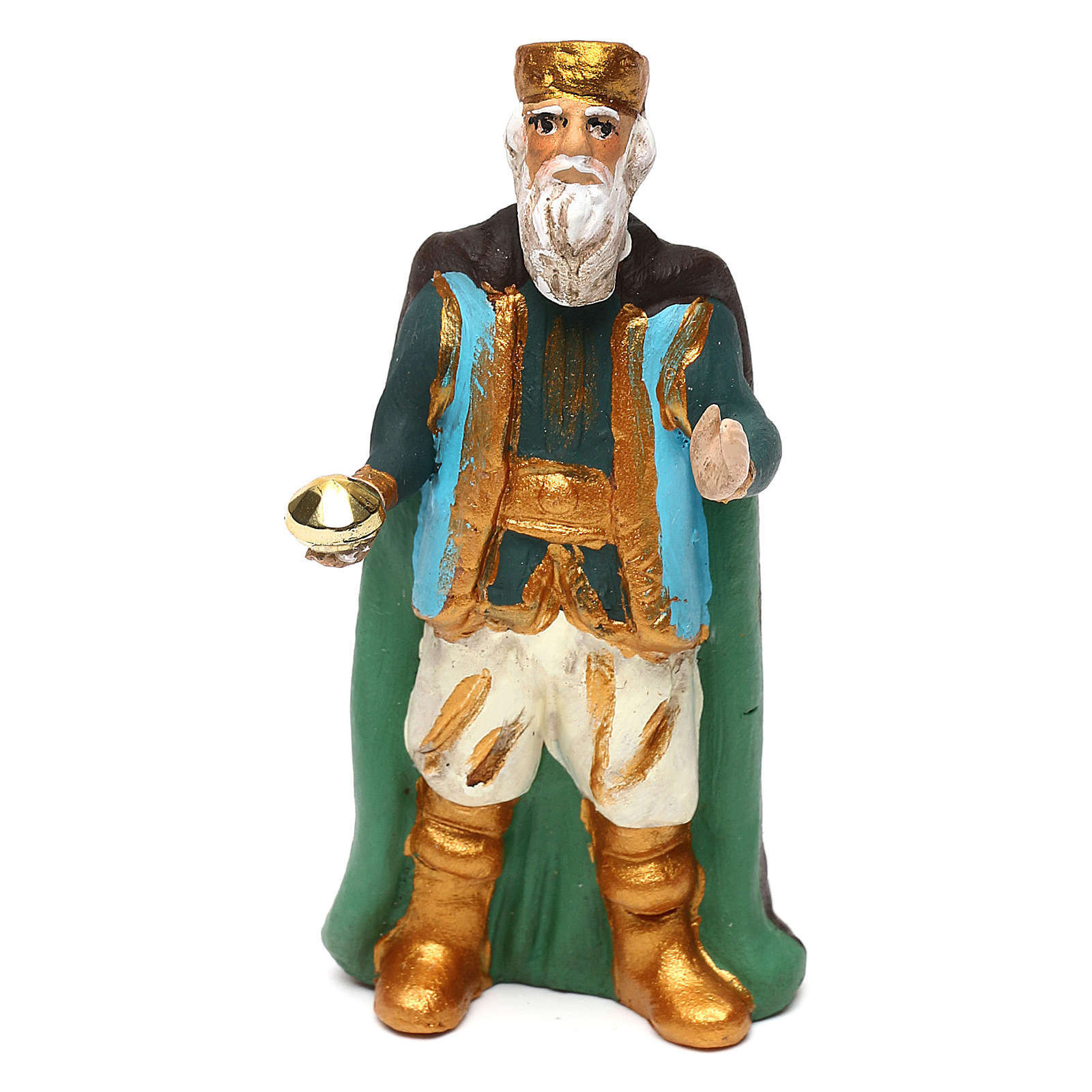 Re Magio vecchio terracotta dipinta presepe napoletano 8 cm 4