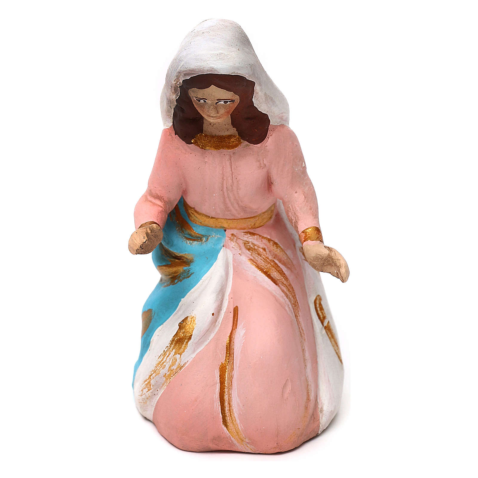 Madonna terracotta dipinta presepe napoletano 8 cm 4