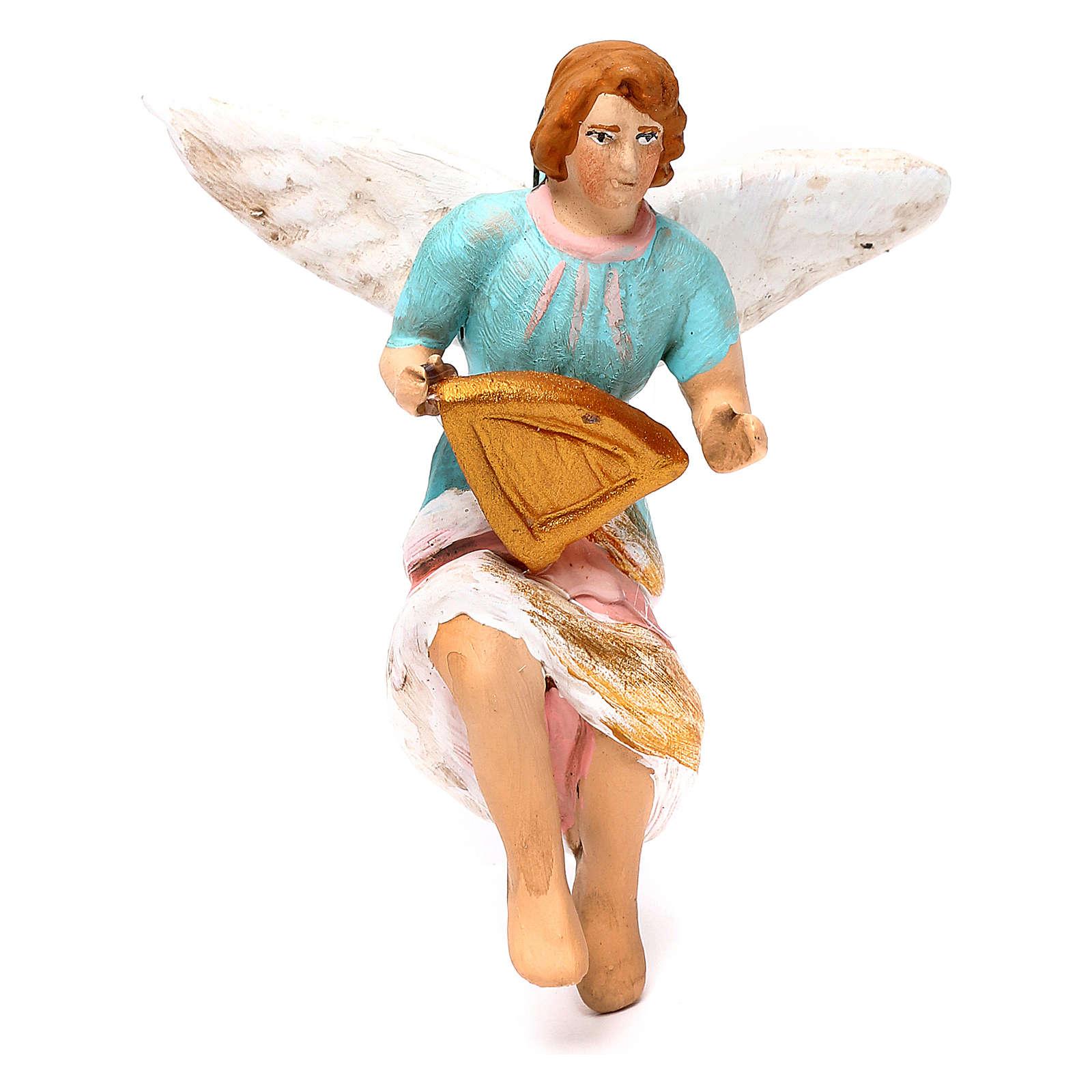 Painted angel for Neapolitan Nativity scene 8 cm 4