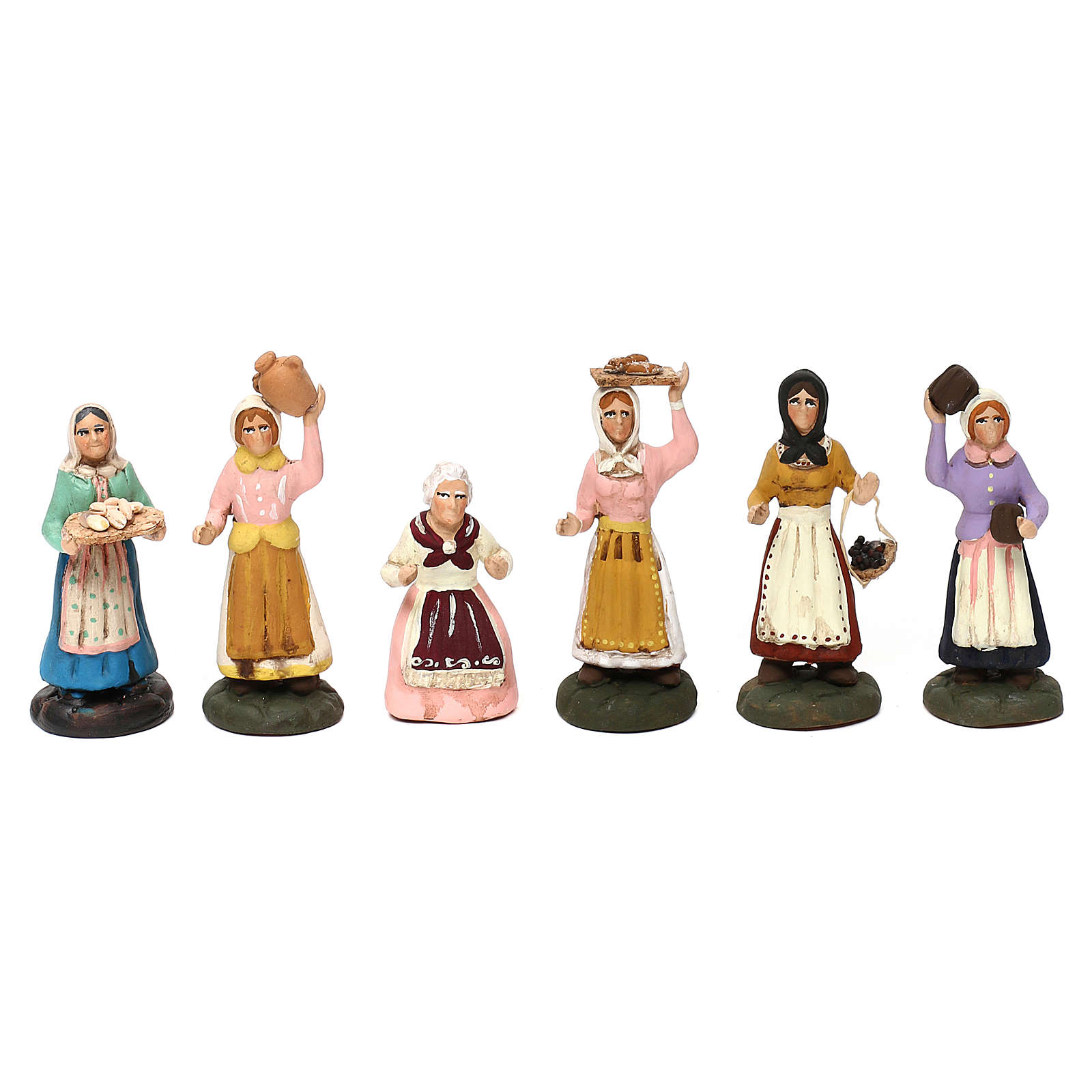 Set with six models of different women for Neapolitan Nativity scene 8 cm 4