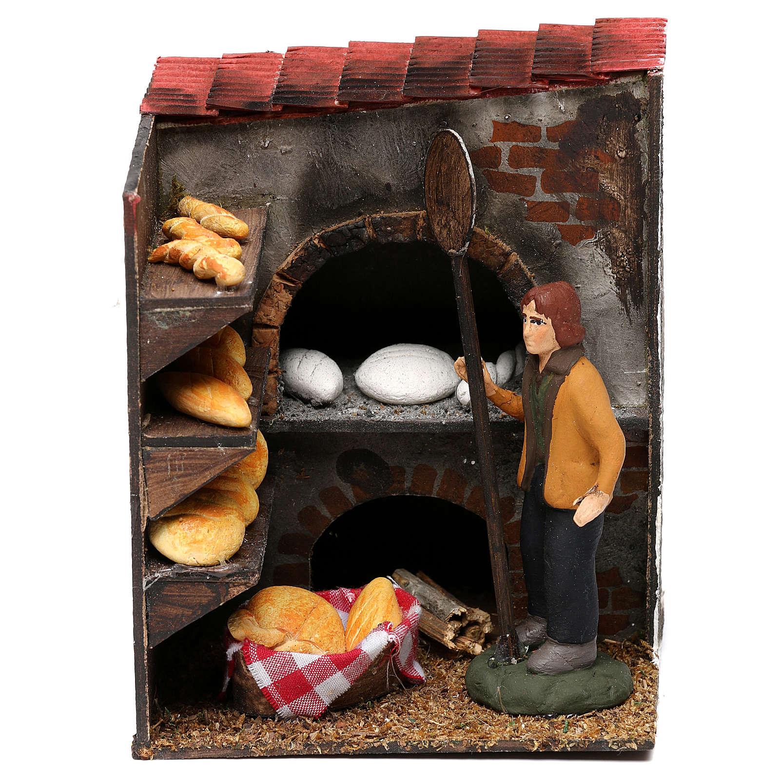 Bakery with baker for Neapolitan Nativity scene 8 cm 4