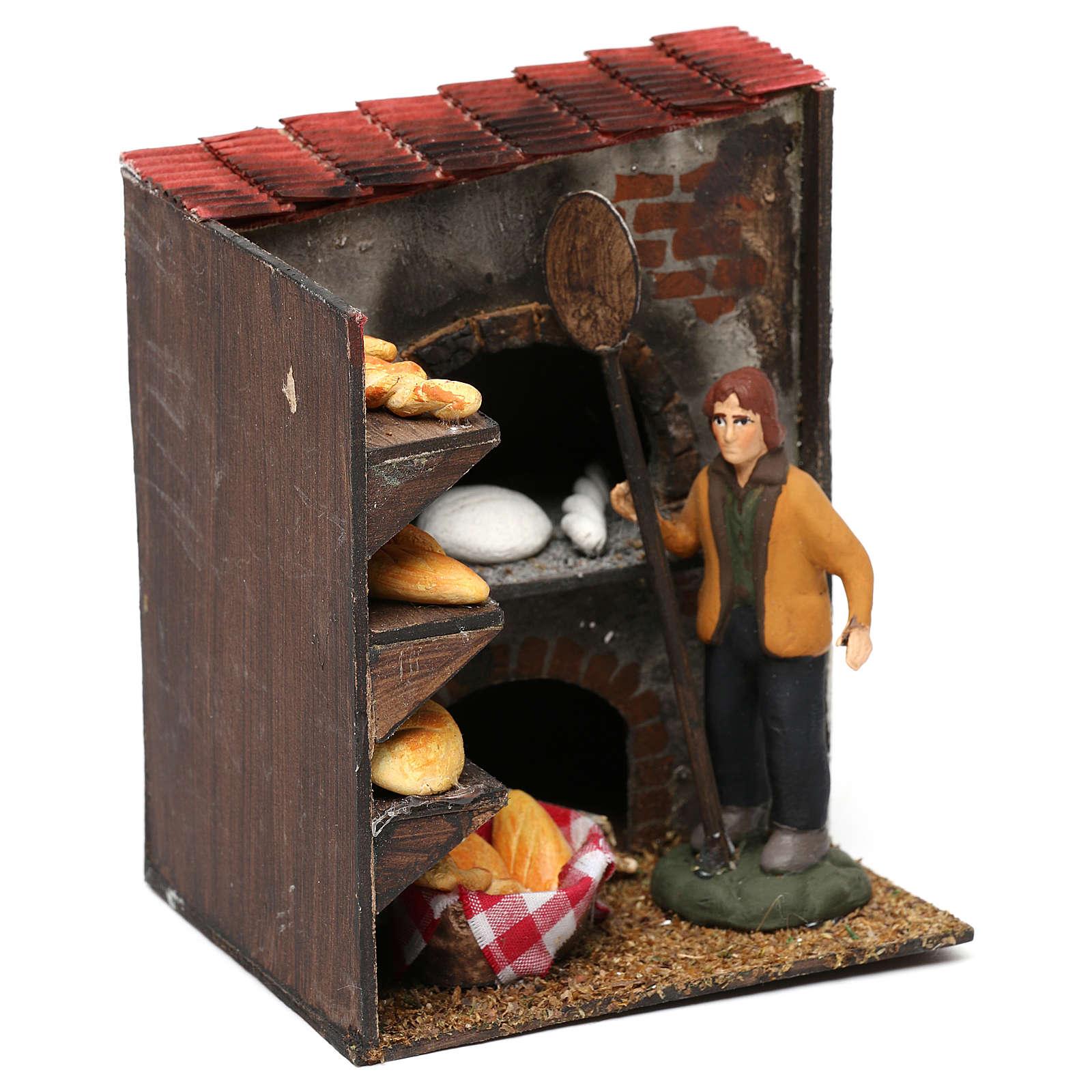 Scena forno con panettiere terracotta dipinta cm 8 4
