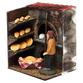 Scena forno con panettiere terracotta dipinta cm 8 s2