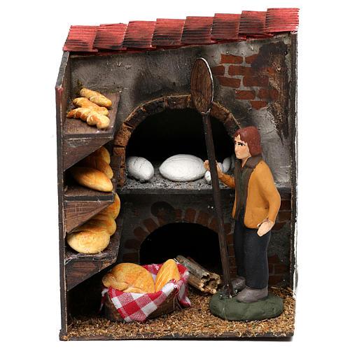 Scena forno con panettiere terracotta dipinta cm 8 1