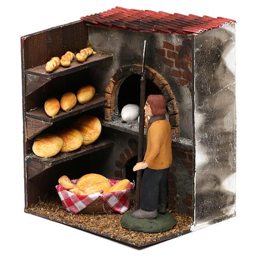 Scena forno con panettiere terracotta dipinta cm 8 2
