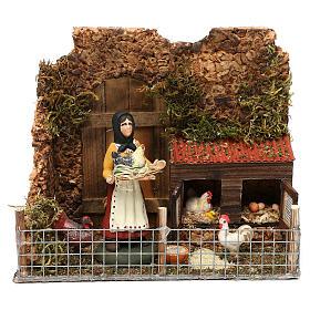 Woman in the henhouse for Neapolitan Nativity scene 8 cm s1