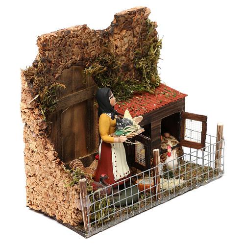 Woman in the henhouse for Neapolitan Nativity scene 8 cm 3