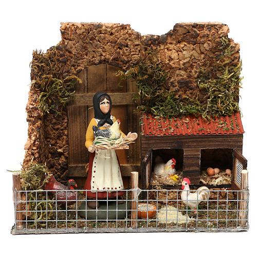 Scena donna nel pollaio terracotta dipinta presepe Napoli 8 cm 1