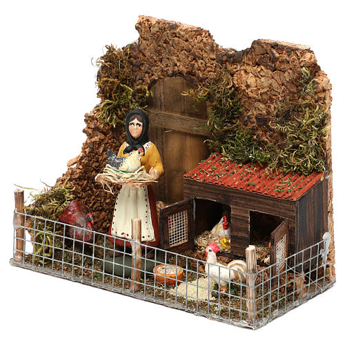 Scena donna nel pollaio terracotta dipinta presepe Napoli 8 cm 2