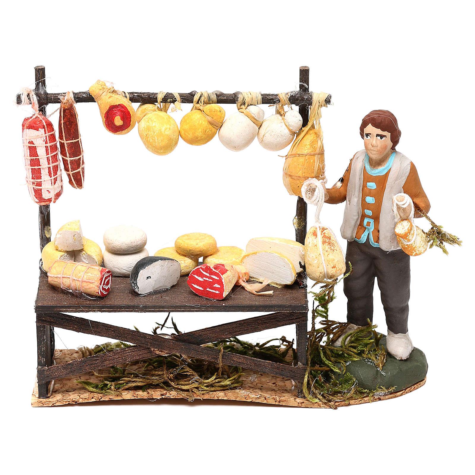 Cheese counter with shepherd for Neapolitan Nativity scene 8 cm 4