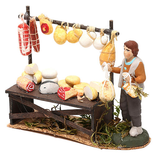 Cheese counter with shepherd for Neapolitan Nativity scene 8 cm 2
