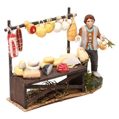 Cheese counter with shepherd for Neapolitan Nativity scene 8 cm 3