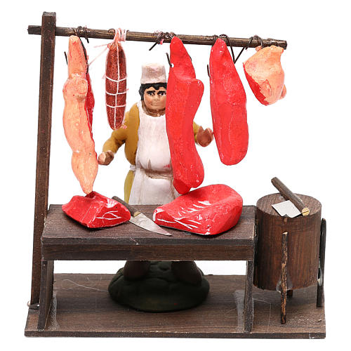 Butcher's shop with butcher's shop for Neapolitan Nativity Scene 8 cm 1