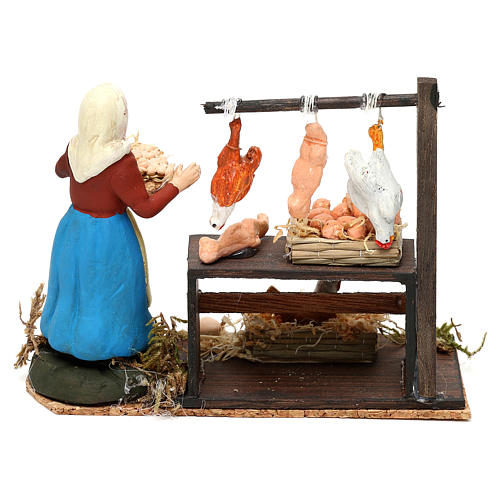 Chicken shop with woman for Neapolitan crib 8 cm 4