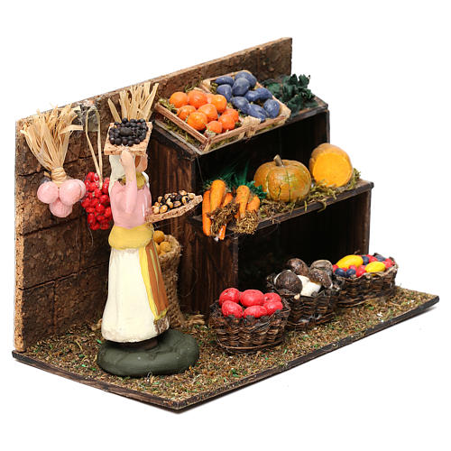 Greengrocer with fruit and vegetable counter for Neapolitan Nativity scene 8 cm 3