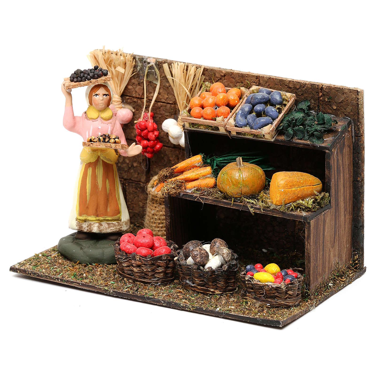 Scena fruttivendola con banco frutta e verdura cm 8 presepe napoletano 4