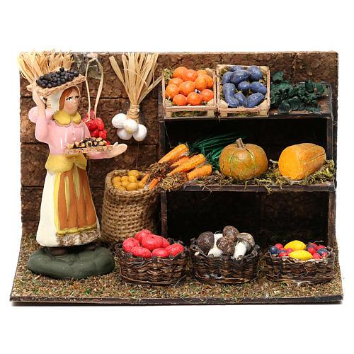 Scena fruttivendola con banco frutta e verdura cm 8 presepe napoletano 1