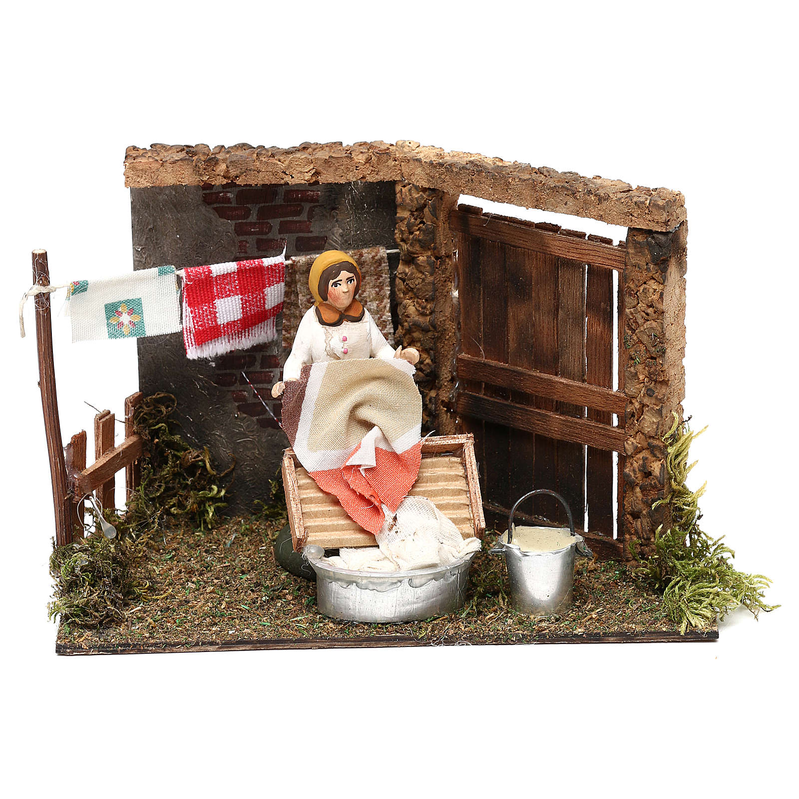 Laundress for Neapolitan Nativity scene 8 cm 4