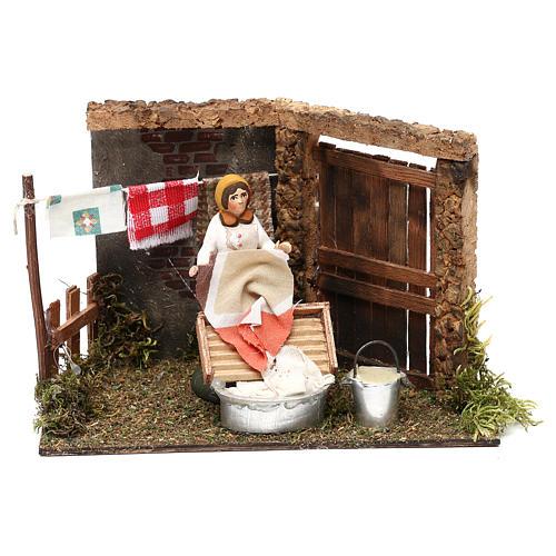 Laundress for Neapolitan Nativity scene 8 cm 1
