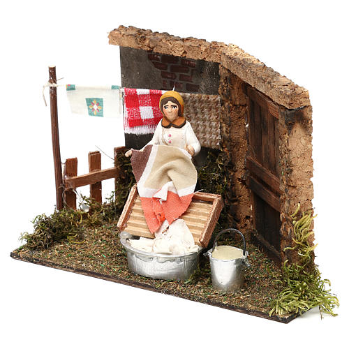Laundress for Neapolitan Nativity scene 8 cm 2
