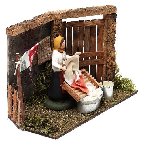Laundress for Neapolitan Nativity scene 8 cm 3