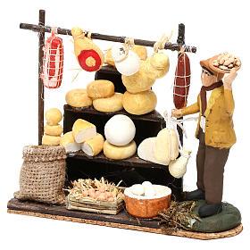 Scena pastore con banchetto formaggi e salumi 8 cm presepe napoletano s2