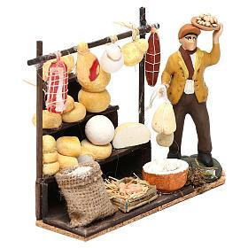Scena pastore con banchetto formaggi e salumi 8 cm presepe napoletano s3