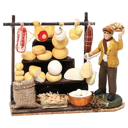 Scena pastore con banchetto formaggi e salumi 8 cm presepe napoletano 1