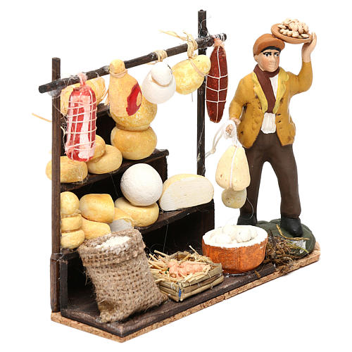 Scena pastore con banchetto formaggi e salumi 8 cm presepe napoletano 3