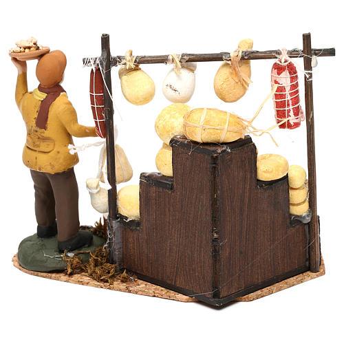 Scena pastore con banchetto formaggi e salumi 8 cm presepe napoletano 4