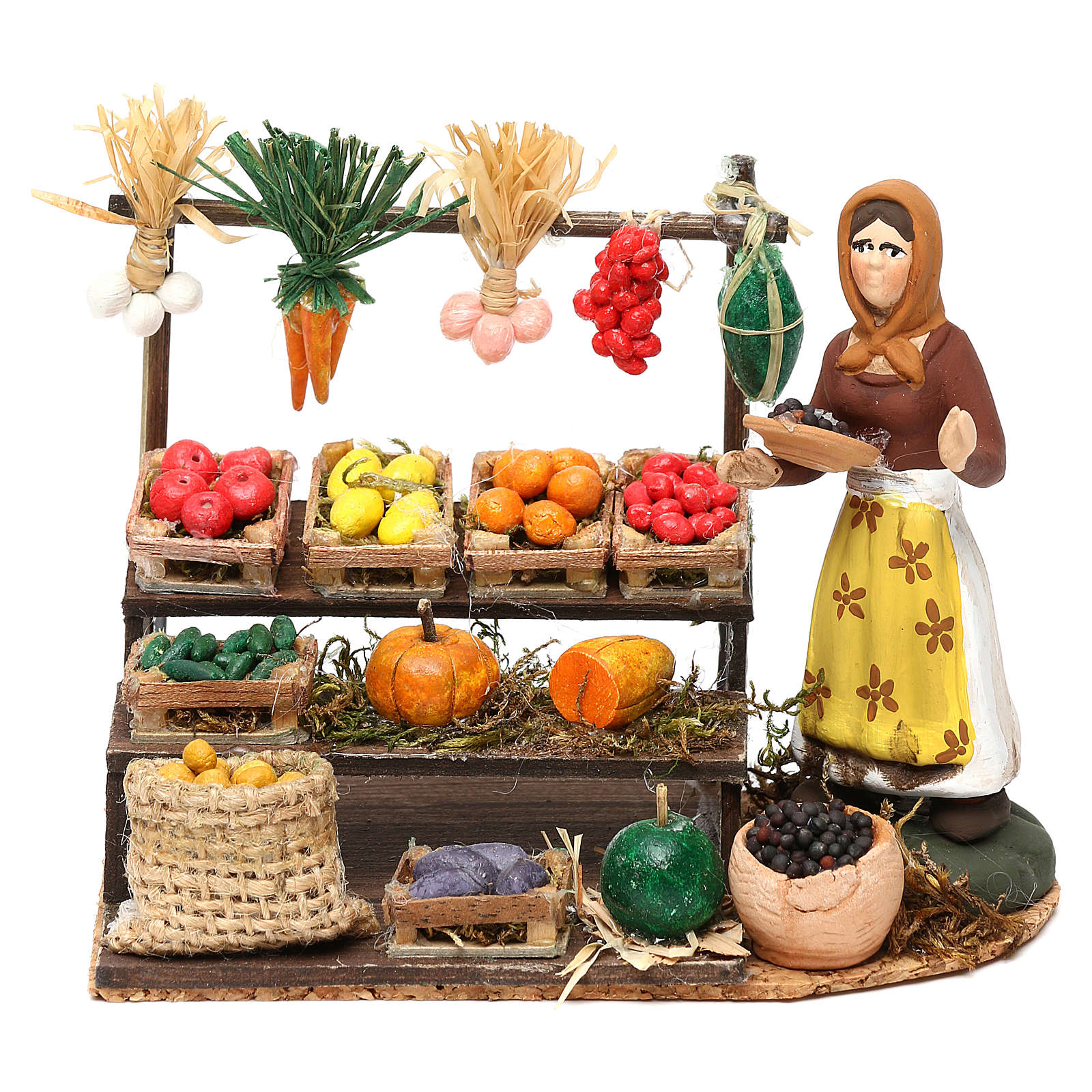 Woman with fruit and vegetable counter for Neapolitan Nativity scene 8 cm 4