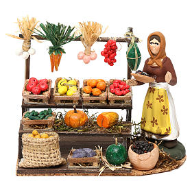 Woman with fruit and vegetable counter for Neapolitan Nativity scene 8 cm s1